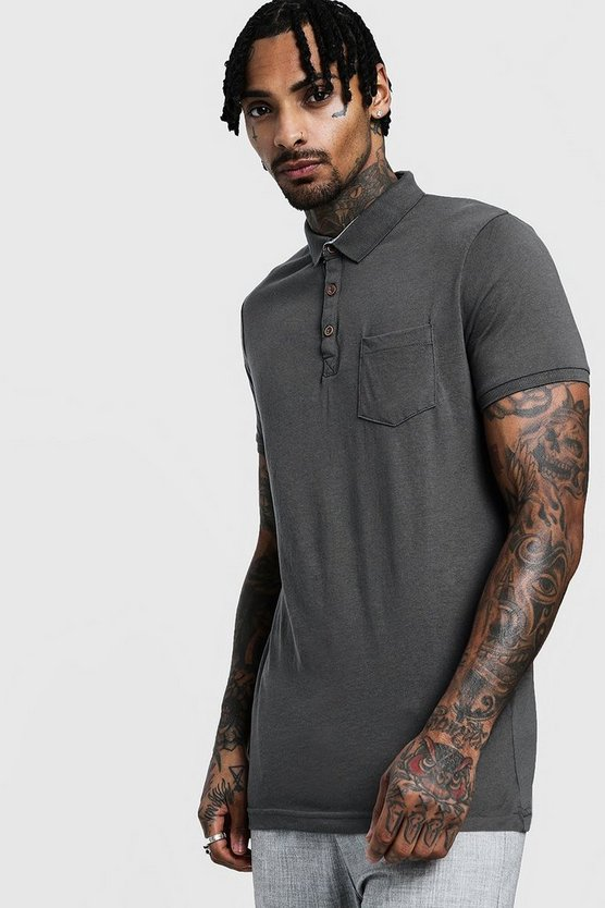 Grey Rib Collar Short Sleeve Polo
