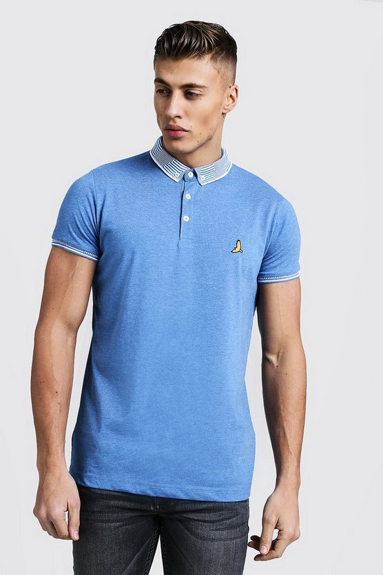 Blue Jacquard Collar Polo With Chest Embroidery