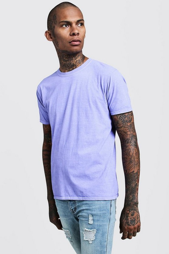Purple Overdyed Crew Neck T-Shirt
