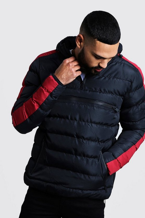 Red Contrast Panel Over Head Puffer