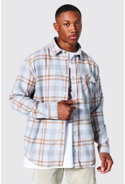Ecru Oversized Check Shirt