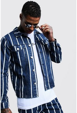 Mens Dark blue Stripe Detail Denim Jacket