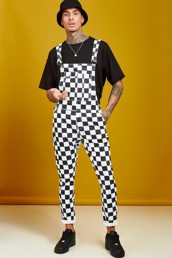 Black Slim Fit Checkerboard Print Dungarees