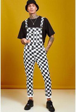 Mens Black Slim Fit Checkerboard Print Overalls