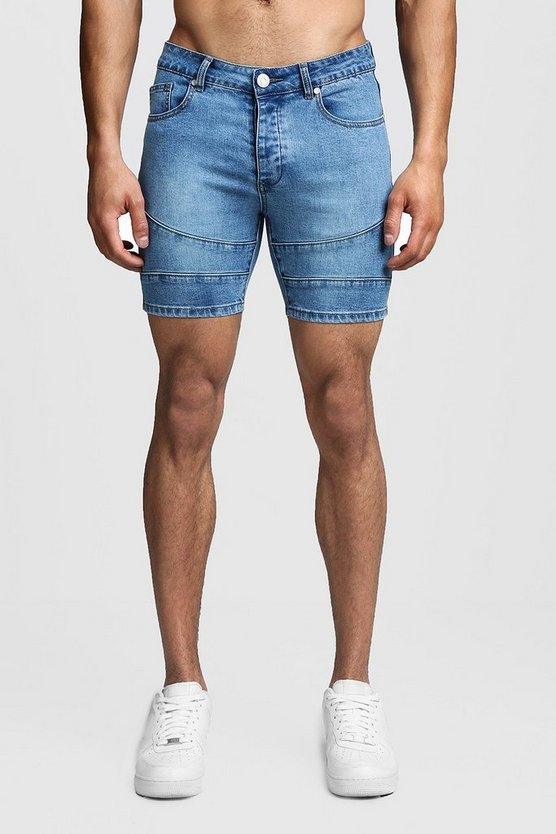 Washed blue Skinny Fit Biker Panelled Denim Shorts