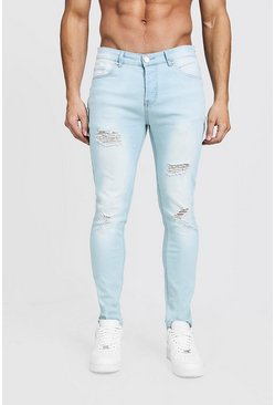 Mens Light blue Skinny Jeans with All Over Distressing