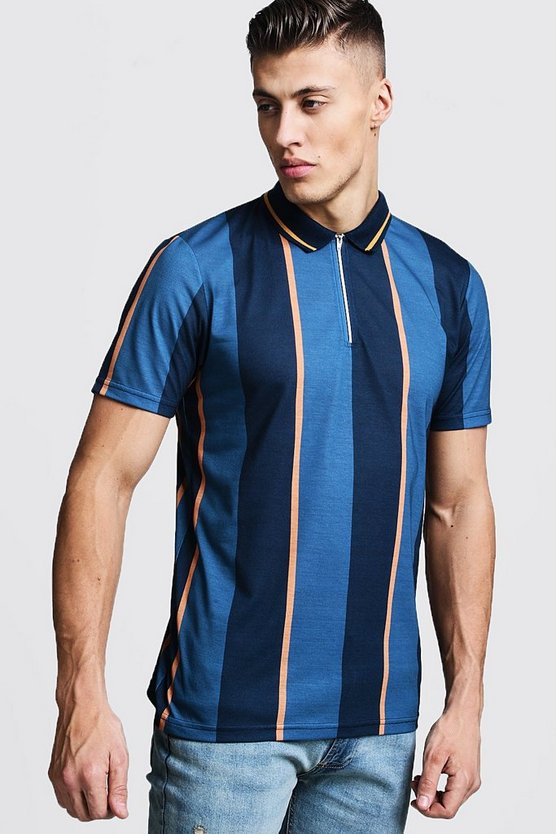 Vertical Stripe Zip Through Polo