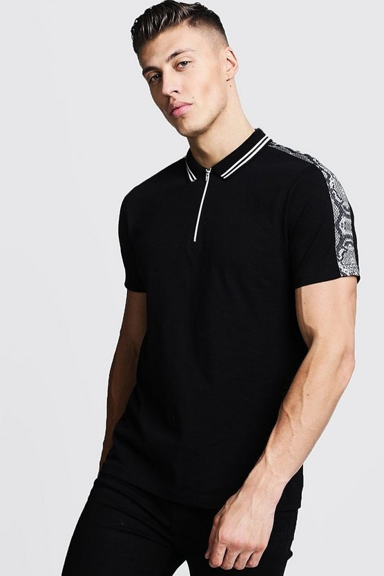Zip Through Polo With Snake Shoulder Panel