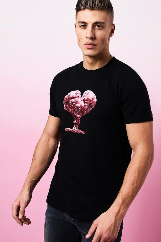 Black Valentines Heart Cloud Printed T-Shirt