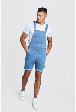 Mens Vintage wash Slim Fit Short Length Overalls