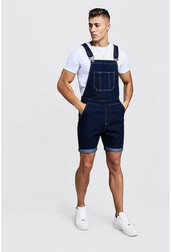 Mens Indigo Slim Fit Short Length Overalls