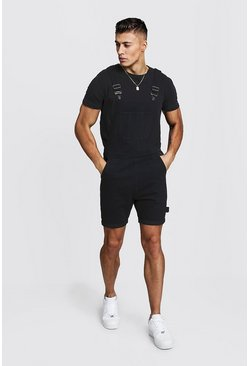 Mens Black Slim Fit Short Length Overalls