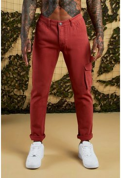 Mens Terracotta Slim Fit Cargo Denim Jeans