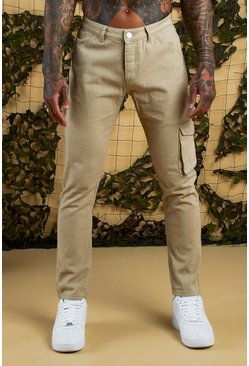 Mens Taupe Slim Fit Cargo Denim Jeans