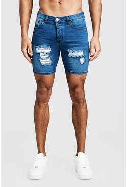 Mens Mid blue Skinny Fit Denim Shorts With Distressing