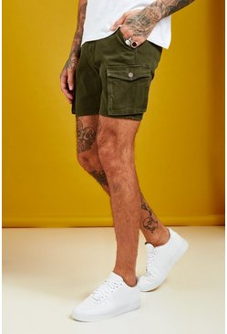 Short coupe slim en denim cargo, Kaki, Homme