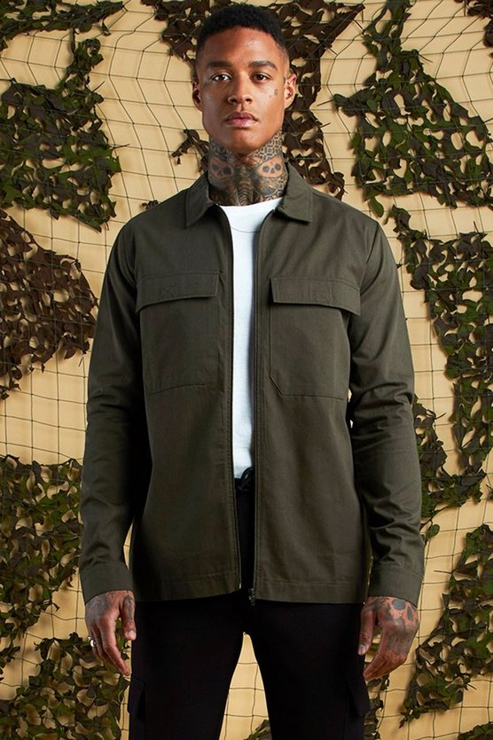Khaki Cotton Twill Utility Zip Through Shacket