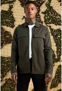 Mens Khaki Cotton Twill Utility Zip Through Shacket
