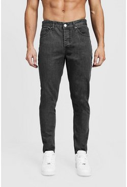 Mens Tapered Fit Grey Denim Jeans