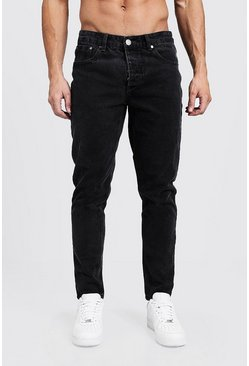 Mens Tapered Fit Charcoal Denim Jeans