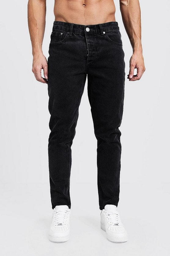 Mens Charcoal Tapered Fit Charcoal Denim Jeans