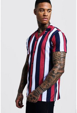 Mens Red Vertical Stripe Short Sleeve Revere Jersey Shirt
