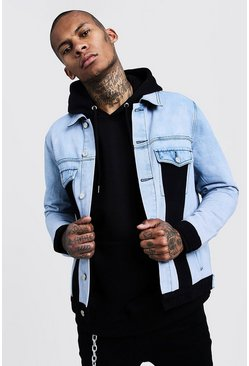 Mens Washed blue Washed Denim Jacket With Contrast Front Panels