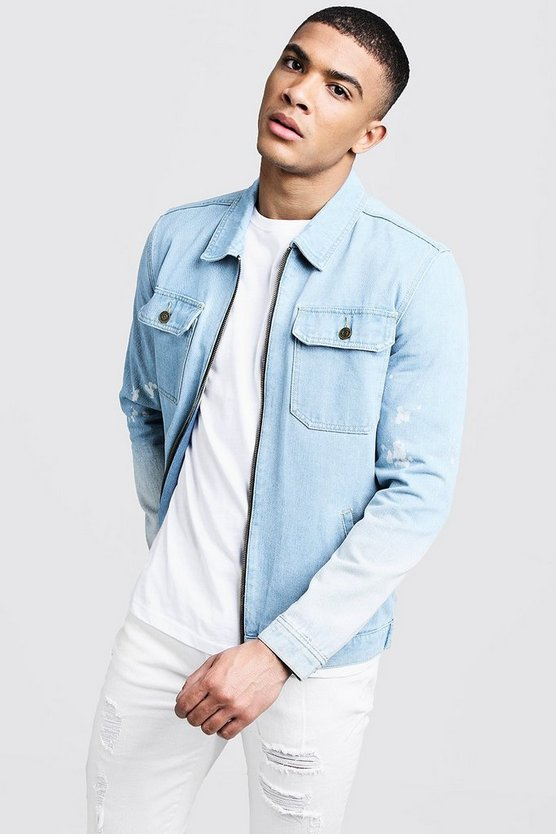 Washed blue Light Denim Zip Through Jackets