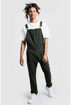 Mens Khaki Slim Fit Rigid Denim Overalls
