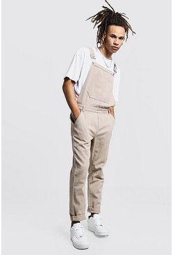 Mens Taupe Slim Fit Rigid Denim Overalls