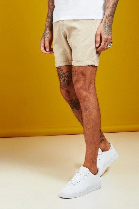 Mens Stone Slim Fit Denim Shorts With Pintuck Detail