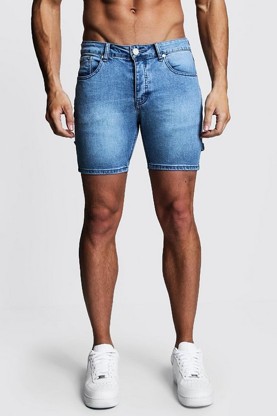 Mens Blue Skinny Fit Denim Shorts With Workwear Details