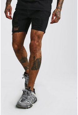 Mens Black Slim Fit Heavily Distressed Denim Shorts