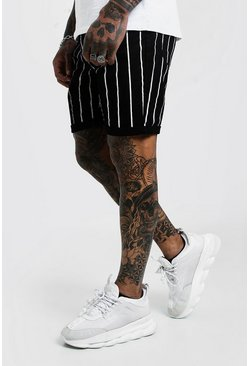 Mens Black Slim Fit Denim Shorts with Printed Stripe