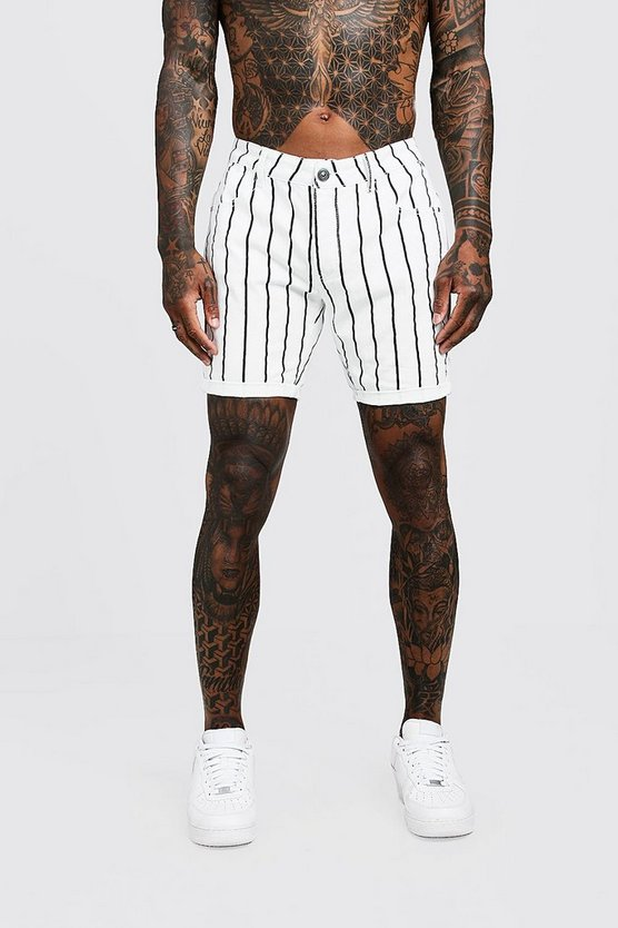 Mens White Slim Fit Denim Shorts with Printed Stripe