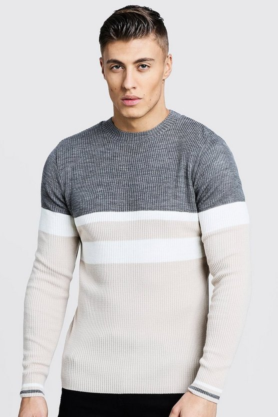 Mens Stone Colour Block Ribbed Sweater
