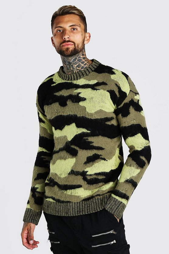 Khaki Brushed Knitted Camo Drop Shouldersweater