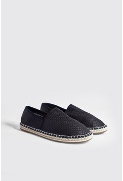 Mens Black Hand Stitch Faux Leather Espadrille