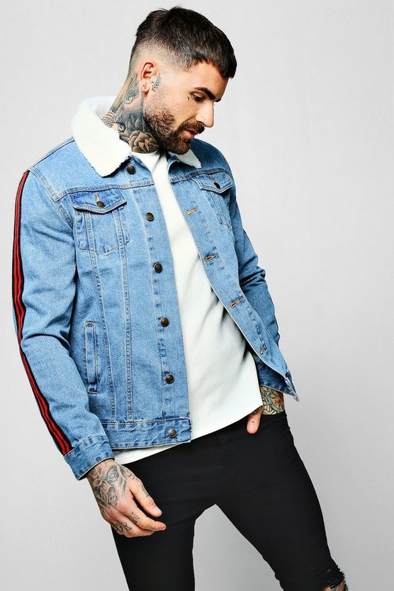 Light blue Borg Collar Denim Jacket with Side Tape