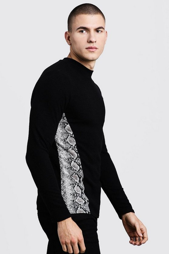 Black Turtle Neck Sweater With Snake Print Side Panel