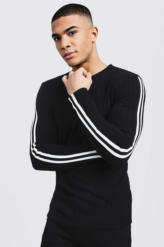 Black Side Tape Ribbed Sweater