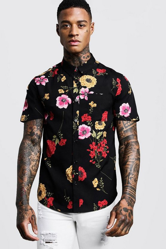 Mens Black Red Floral Print Short Sleeve Shirt