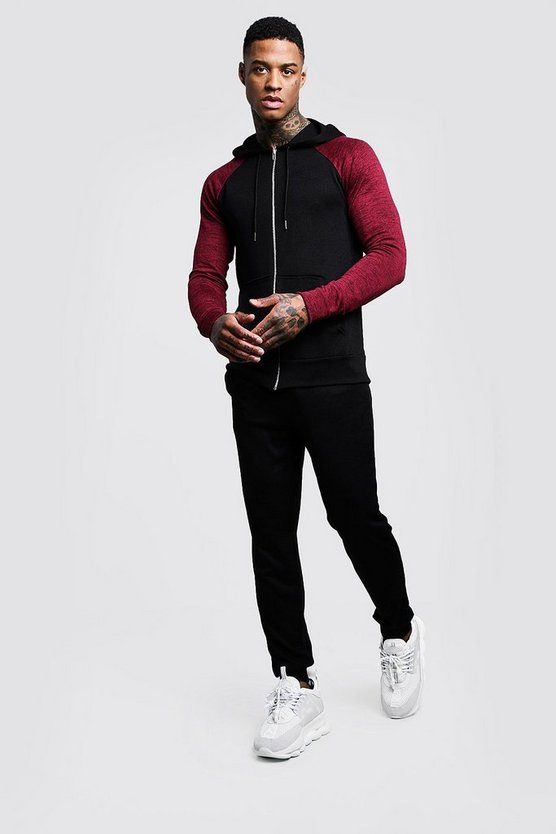 Black Hooded Knitted Tracksuit With Side Taping