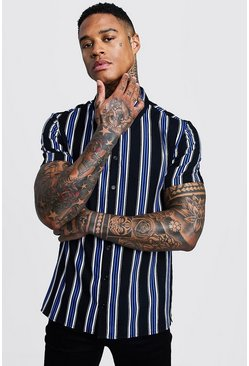 Black Cobalt Stripe Short Sleeve Shirt