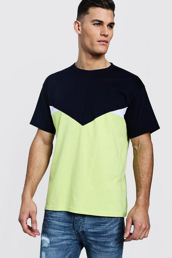 Lime Chevron Spliced Loose Fit T-Shirt