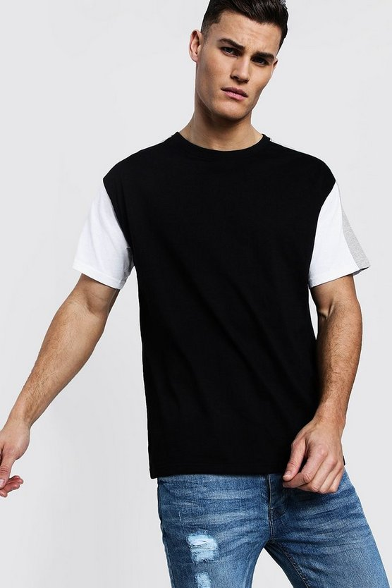 Grey Colour Block Sleeve Panel Loose Fit T-Shirt