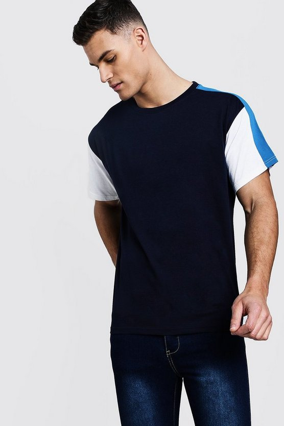 Colour Block Sleeve Panel Loose Fit T-Shirt