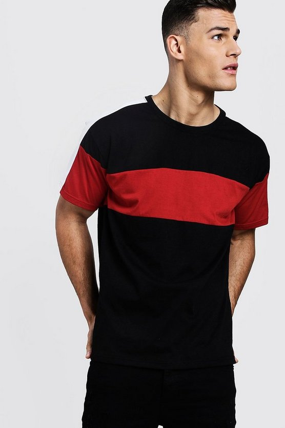 Red Colour Block Sleeve Panel Loose Fit T-Shirt
