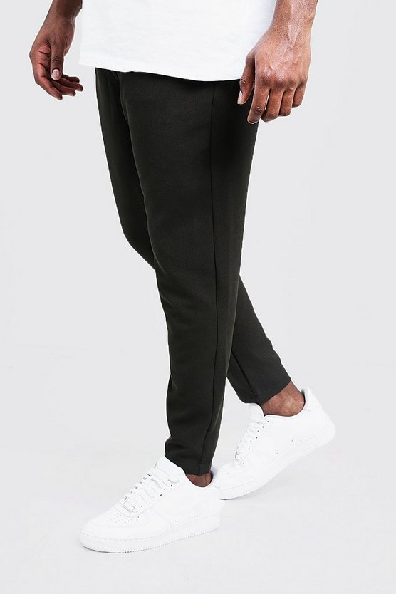 Mens Olive Big & Tall Plain Smart Jogger Pants