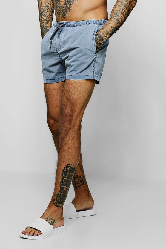 Mens Grey Pigment Dyed Mid Length Swim Short